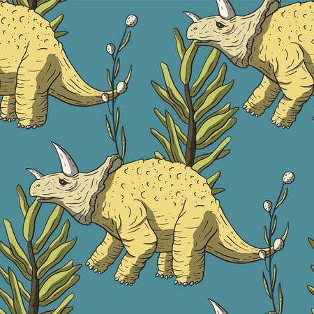 Triceratops Dinosaur Seamless pattern. Jurassic and Cretaceous animal. Prehistoric vector dino. Vettoriali