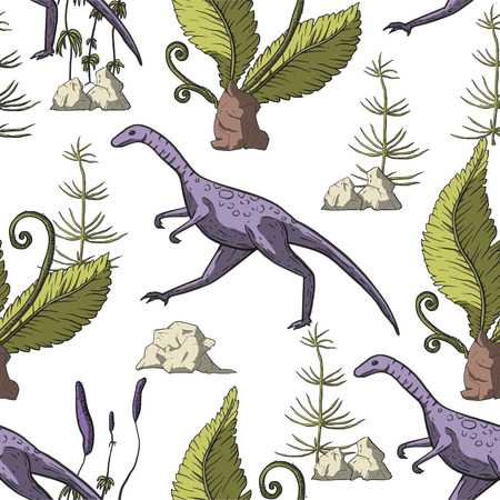 Compsognathus Dinosaur seamless pattern. Jurassic and Cretaceous animal. Prehistoric vector dino seamless pattern. Vettoriali