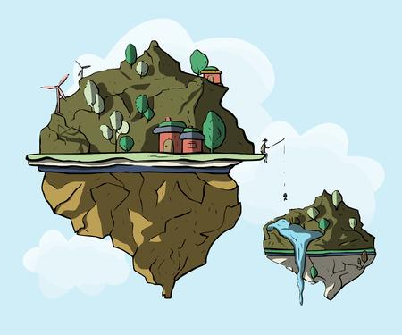 Isla flotante, tierra de fantasía 3d, paisaje verde. Ilustración ecológica mágica de dibujos animados con colinas y casas. Ilustración de vector