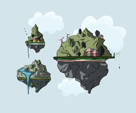 Floating island, 3d fantasy earth, green landscape. Cartoon magic eco illustration. Imagens - 117901499