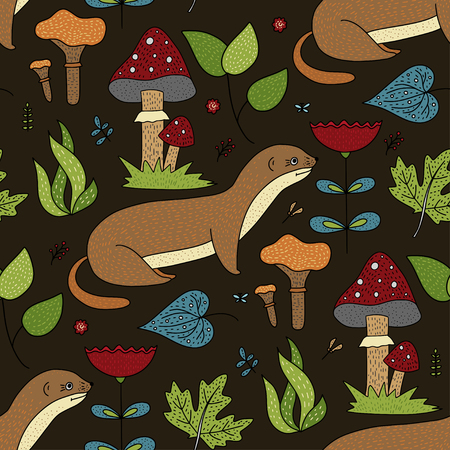 Seamless vector forest pattern with cute color illustrations - wild ermines. Vector Illustratie