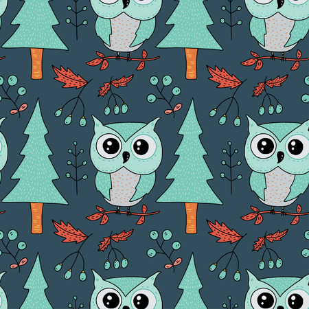 Seamless vector forest pattern with cute color illustrations - owls and fir trees.