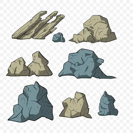 Stone vector set. Mineral icon cillection. Mountain osolated elements. Ilustração