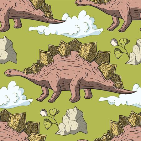 Stegosaurus Dinosaur seamless pattern. Jurassic and Cretaceous animal. Prehistoric vector dino seamless pattern.