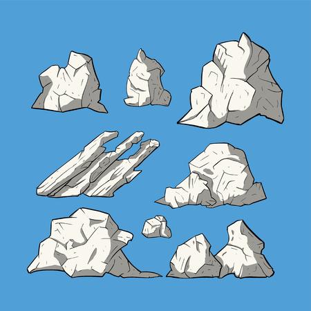Ice Stone vector set. Iceberg collection. Ilustrace