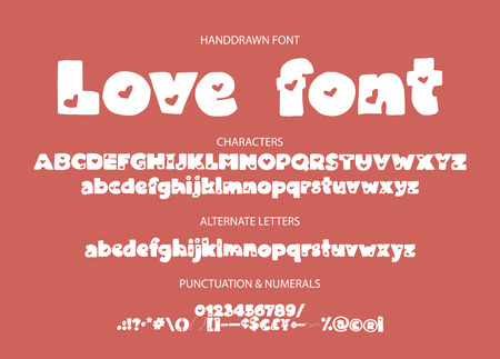 Decorative valentines display font with hearts. Alphabet vector calligraphy signs. Letter vector set. Detailed scandinavian love hand drawn typography typeset. Ilustrace
