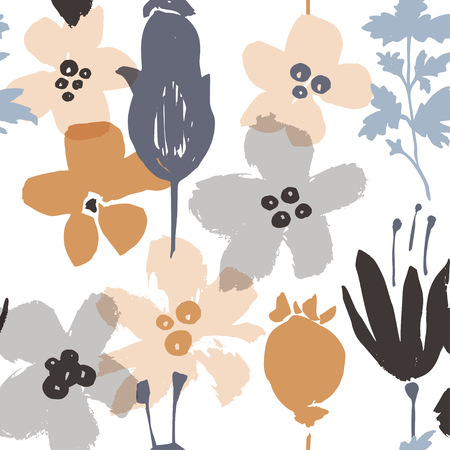 Abstract natural seamless pattern. Hand drawn with brush and ink. Vector flowers with tropical forest leaves, doodle, grunge texture. Hand painted scandinavian style illustration.