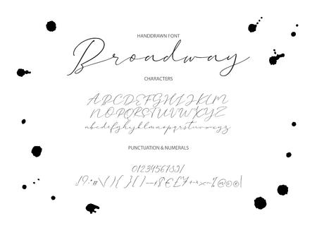 Gentle script duo font. Vector. Alphabet calligraphy signs. Letter vector set. Hand drawn typography typeset.