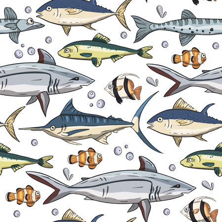 Sea seamless vector pattern. Ocean tropicar exotic illustration with tropical underwater animals - shark, moorish idol, clown fish, swordfish. Marine life. Sea background vector illustration.
