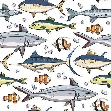 Sea seamless vector pattern. Ocean tropicar exotic illustration with tropical underwater animals - shark, moorish idol, clown fish, swordfish. Marine life. Sea background vector illustration.