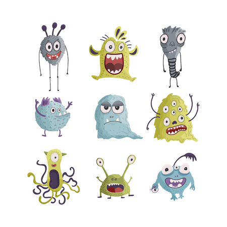 Cute cartoon vector monster icons in a flat style. Handdrawn stickers. Color baby cliparts. Big set of isolated halloween characters.