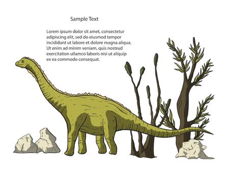 Diplodocus Dinosaur in its habitat. Jurassic and Cretaceous animal. Prehistoric vector dino card. Ilustrace