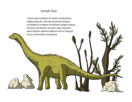 Diplodocus Dinosaur in its habitat. Jurassic and Cretaceous animal. Prehistoric vector dino card. Illustration