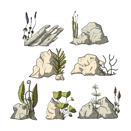Stone vector set with plants. Mineral cartoon outdoor vector set. Ilustrace