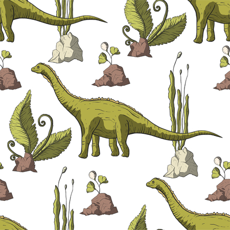 Diplodocus Dinosaur in its habitat. Jurassic and Cretaceous animal. Prehistoric vector dino seamless pattern.