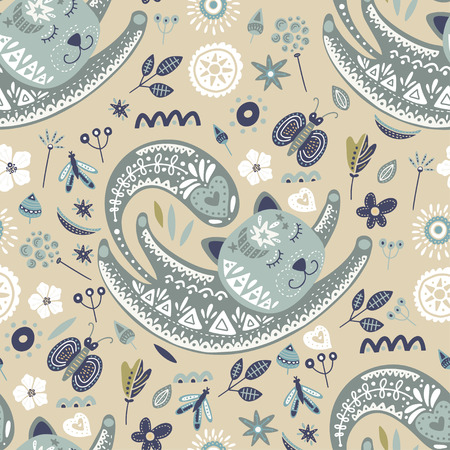 Seamless vector tribal pattern with cute dreaming cat and flowers in a flat style. Vintage summer colorful ethnic illustration. Decorative kitten poster.