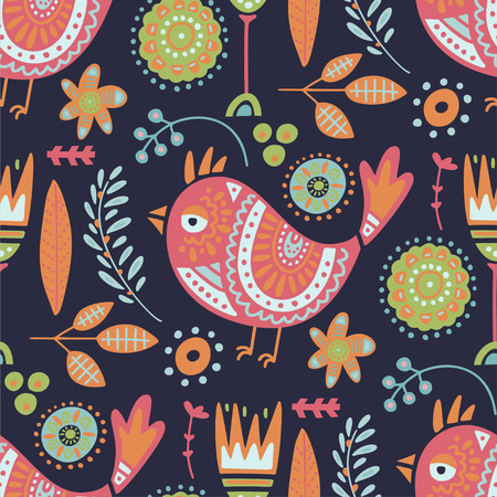Seamless vector tribal pattern with cute bird and flowers in a flat style. Vintage summer colorful ethnic illustration. Decorative animal poster. Ilustrace