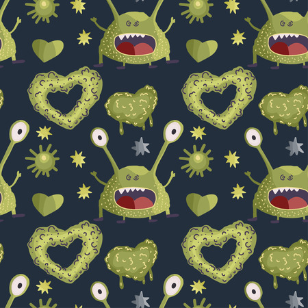 Cute cartoon vector seamless pattern with cute green monsters in a flat style. Ilustrace