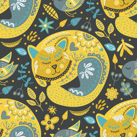 Seamless vector tribal pattern with cute sleeping cat and flowers in a flat style. Vintage summer colorful ethnic illustration. Decorative kitten poster.