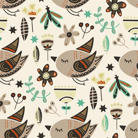 Seamless vector tribal pattern with cute bird and flowers in a flat style. Vintage summer colorful ethnic illustration. Decorative animal dream poster.