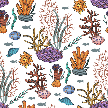 Sea seamless vector pattern. Ocean tropicar exotic illustration with colal, algae, shells, sea plants. Underwater species, marine creatures on a white background. Ilustrace
