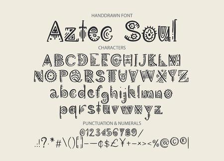 Alfabeto azteca tribal. Letras étnicas de vector con decoraciones de perú. Letras de ABS geométricas dibujadas a mano decorativas para su diseño.