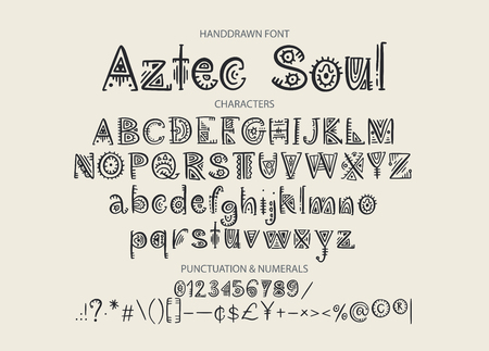 Tribal Aztec Alphabet. Vector ethnic letters with peru decorations. Decorative hand drawn geometric ABS letters for your design.