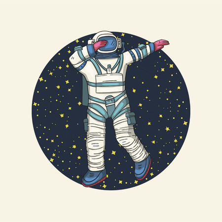 Astronaut, vector illustration. Comonaut round card for print and web. Template with comic sign with a spaseman and constellations. Traveler in vacuum dancing dab dance. Çizim