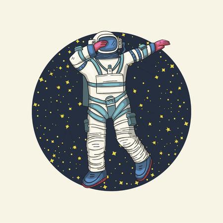 Astronaute, illustration vectorielle. Carte ronde Comonaut pour impression et web. Modèle avec signe comique avec un spaseman et des constellations. Voyageur en danse sous vide dab dance.