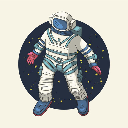 Astronaut, vector illustration. Comonaut round card for print and web. Template with comic sign with a spaseman and constellations. Traveler in vacuum. Ilustrace