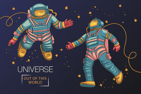 Astronauts fly in outer space. Cosmos research vector iilustration.Template with comic sign with a spaseman among constellations. Travelers in vacuum. Ilustrace