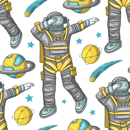 Astronaut vector seamless pattern. Cosmos cartoon illustrations. Spaceman flying in the other space. Universe galaxy man dancing Dab dance on a white background.