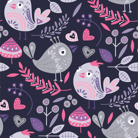 Seamless vector tribal pattern with cute bird and flowers in a flat style. Vintage summer colorful ethnic illustration. Decorative animal couple love poster.