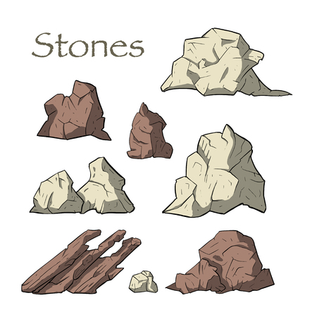 Stone vector set. Mineral icon cillection. Mountain osolated elements. Ilustrace