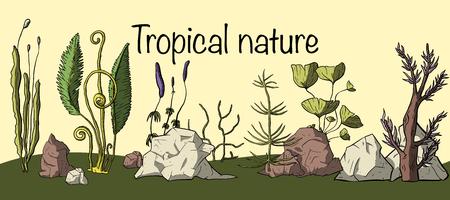 Prehistoric vector plants. Different extinct greenery. Cartoon botanical set. Tropic nature card.