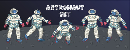 Astronaut in various poses. Other space vector set. Isolated spaceman icon collection. Clipart with cute cosmonaut characters, space explorer or pilot.