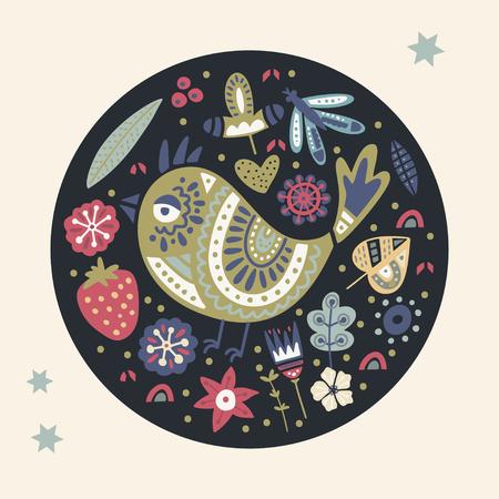 Cute cartoon vector bird card. Folk art vector animal illustration in scandinavian style. Tribal nordic floral art. Ilustrace