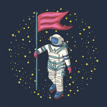 Astronaut, vector illustration. Cosmonaut card for print and web. Template with comic sign with a spaceman with a flag among constellations. Traveler in vacuum. Ilustrace