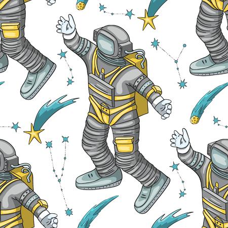 Astronauta wektor wzór. Ilustracje kreskówka kosmos. Spaceman lecący w innej przestrzeni. Tło galaktyki wszechświata. Spadające gwiazdy - wypowiedz życzenie.
