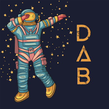 Astronaut, vector illustration. Cosmonaut card for print and web. Template with comic sign with a spaceman and constellations. Traveler in vacuum dancing dab dance.