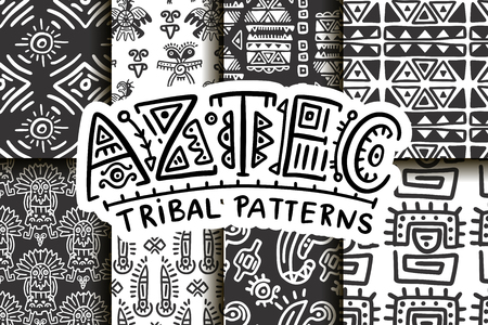 Seamless aztec vector pattern set. Tribal traditional indian fabric design collection. Folk vintage illustration.
