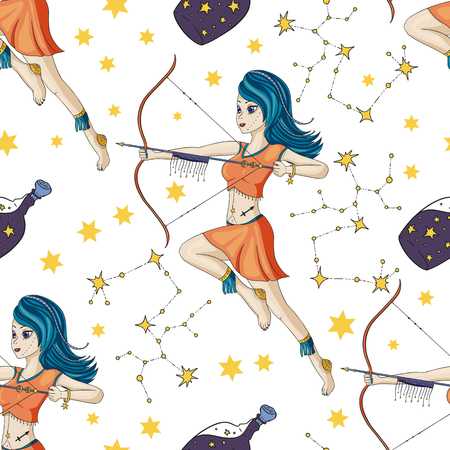 Seamless Pattern With Zodiac Sagittarius Girl Vector Sign. Cartoon astrology illustration. Horoscope drawing.