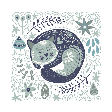 Folk art vector animal illustration in scandinavian style. Tribal nordic square card with detailed cat and floral decoration. 矢量图像