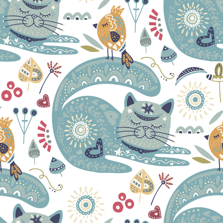 Seamless vector tribal pattern with cute cat and bird and flowers in a flat style. Ilustrace