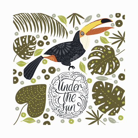 Bright bird Toucan with tropical flora and lettering quote.