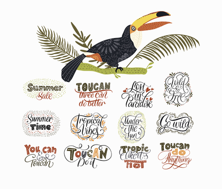 Big vector graphic set with Tropical Toucan Birds and lettering quotes Ilustrace