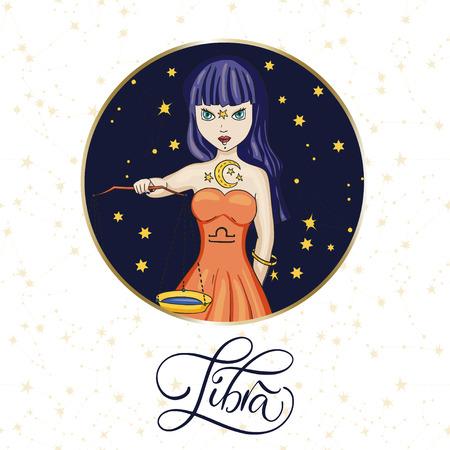 Zodiac Libra Girl Vector Sign. Ilustrace