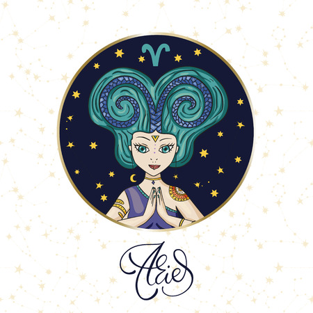 Zodiac Girl Vector Sign. Cartoon Aries astrology round badge