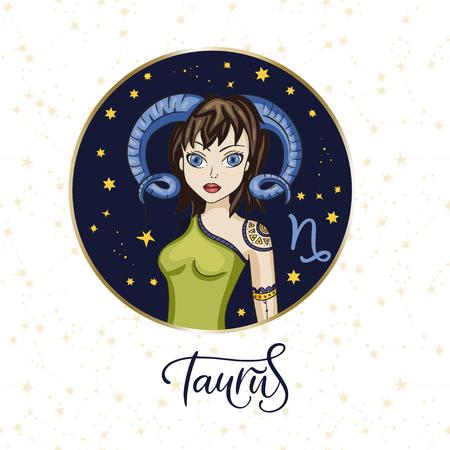 Zodiac Girl Vector Sign. Cartoon Taurus astrology round badge Ilustrace