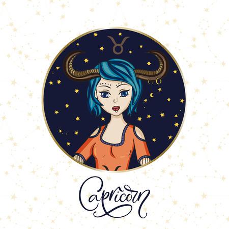 Zodiac Capricorn Girl Vector Sign. Cartoon astrology round badge Ilustrace